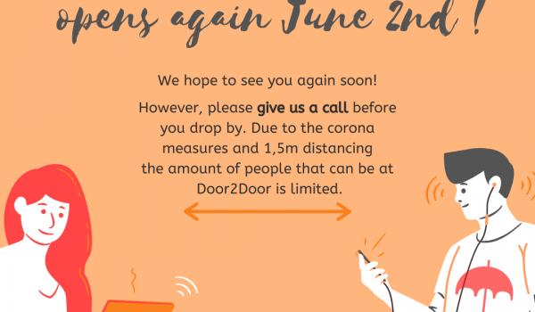 Door2Door vanaf 2 juni weer open!